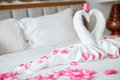 Towel swans on the bed  in hotel Royalty Free Stock Photo