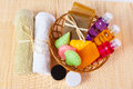 Towels and a basket of cosmetics