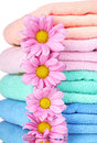 Towels and beautiful flowers Stock Image