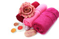 Towels candles soaps and flower on white background Royalty Free Stock Photos