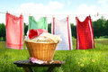 Towels drying on the clothesline Royalty Free Stock Photo