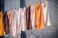 Towels hung out to dry on a washing line Royalty Free Stock Photo