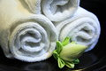 Towels and lotus flower in resort hotel Stock Images