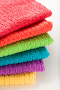 Towels in rainbow colors (yellow, purple, blue, green, orange, r Royalty Free Stock Photo