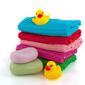Towels with soap Royalty Free Stock Images
