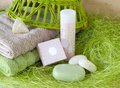 Towels, soap, shampoo Royalty Free Stock Photo