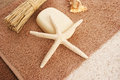 Towels with starfish shell soap horizontal closeup picture Stock Photos