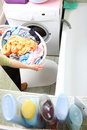 Towels in washing machine cloths Stock Images