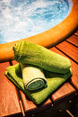 Towels at a whirlpool photo Royalty Free Stock Image