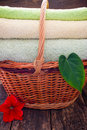 Towels in a wicker basket next to the flowers and leaves of the plant Royalty Free Stock Photo