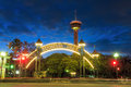 Tower of americas at night in san antonio texas usa sep on september the the is a foot Stock Image