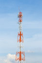 Tower with antennas of cellular communication at thailand Royalty Free Stock Photos