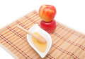 Tower of apples and honey two with dipper for rosh hashana Stock Photography