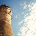 Tower of Aragonese Castle in Gaeta - vintage effect. Royalty Free Stock Photo