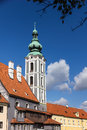 Tower in baroque style in Cesky Krumlov Royalty Free Stock Images