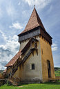 Tower of Biertan medieval church Royalty Free Stock Photo