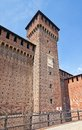 Tower of Bona of Savoy in Sforza Castle (XV c.). Milan, Italy Royalty Free Stock Photo