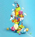 A tower of books with reading people. Educational concept. Online library.