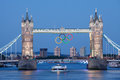 Tower bridge decorated with Olympic rings London Royalty Free Stock Image