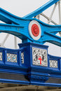 Tower bridge details of iron cross beams london uk Royalty Free Stock Photo
