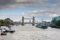Tower Bridge and HMS Belfast on the Thames Royalty Free Stock Photos