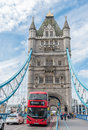 Tower Bridge and the iconic London bus in London, UK Royalty Free Stock Photo