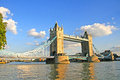 Tower bridge london against blue sky in the sunset england Royalty Free Stock Photo