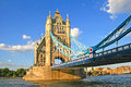 Tower bridge london against blue sky in the sunset england Stock Photography