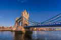 Tower bridge of london clear blue sky built – is a combined bascule and suspension in the crosses the river thames close to the Stock Photography