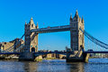 Tower Bridge in London crosses River Thames Royalty Free Stock Photo