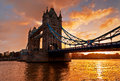 Tower bridge in london england against morning sunrise this photo make hdr Royalty Free Stock Images