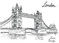 Tower bridge london england uk hand drawn illustration vector vintage background Royalty Free Stock Photography