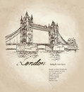 Tower bridge london england uk hand drawn illustration vector vintage background Royalty Free Stock Photo
