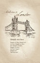 Tower bridge london england uk old fashioned background hand drawn illustration vector vintage Stock Image