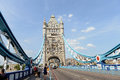 Tower bridge london famous a draw in crossing the thames river Royalty Free Stock Photography