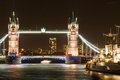 Tower bridge london at night illuminated on a dark autumn evening in Stock Image