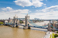Tower bridge and london skyline high viewpoint of the river thames east england Stock Images