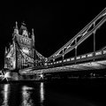 Tower bridge london uk august in black and white by night on august in Royalty Free Stock Images