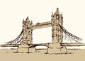 Tower bridge, London, UK. Hand drawn vector illustration
