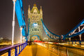 Tower bridge london uk at night Stock Photography