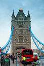 Tower bridge in london uk sep with tourists and traffic on september uk it is one of the iconic architectures and Royalty Free Stock Photography