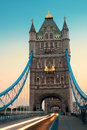 Tower bridge morning traffic and in the in london Royalty Free Stock Images