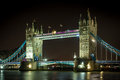 Tower bridge at night london england Stock Images