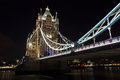 Tower bridge at night london england united kingdom Stock Images