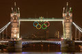 Tower Bridge at night with Olympic Rings Stock Images