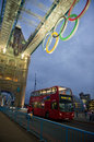 Tower bridge at night with olympic rings in london aug during games on august one of the most Royalty Free Stock Image