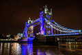 Tower Bridge at night over the River Thames, London, UK, England Royalty Free Stock Photo