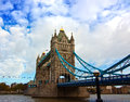 Tower bridge over river thames scenic view of with cloudscape background london england Royalty Free Stock Photos