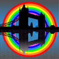 Tower bridge with rainbow Stock Photos