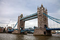Tower bridge on a rainy and grey day Royalty Free Stock Images